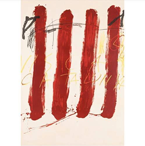shuimanjinshan Tapies Antoni Visca Catalunya Carteles Abstractos Lienzo póster Arte de Pared y Arte Lienzo Pintura Impresiones Cuadro de Pared para decoración del hogar 50X70Cm sin Marco Poster(K262)