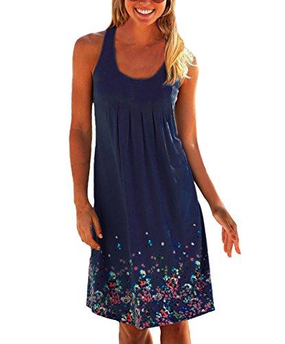 Damen Sommerkleid ohne ärmel Knielang Strandkleid Elegant Partykleid cocktailkleid Spitze Druck A-Linie Kleider (L, Marineblau)