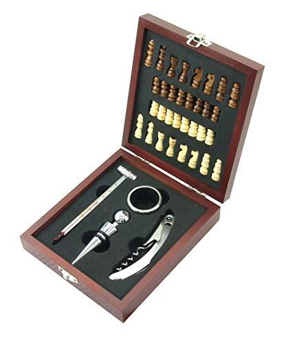 MK Handel - Wein und Schach-Set - Schachbrett und Sommelier-Set in hochwertiger Geschenkbox aus Holz, braun
