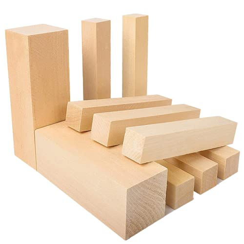 WOWOSS 10 Pack Unfinished Basswood Carving Blocks Kit