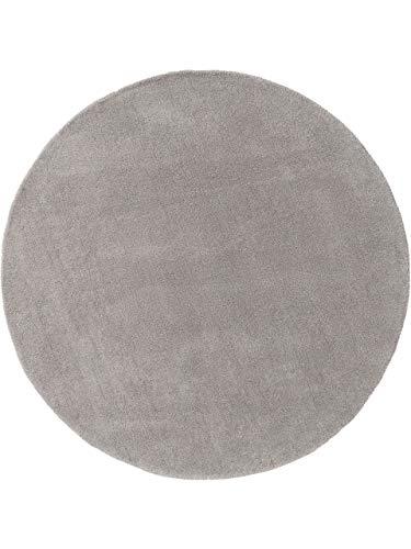 benuta NATURALS Wollteppich Bent Plain Grau ø 150 cm rund - Naturfaserteppich aus Wolle