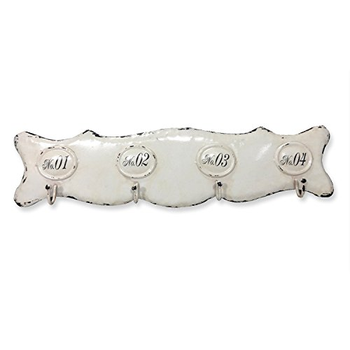 Loberon Hakenleiste Sharpay, Eisen, H/B/T ca. 11,3/45,7/4 cm, antikweiß
