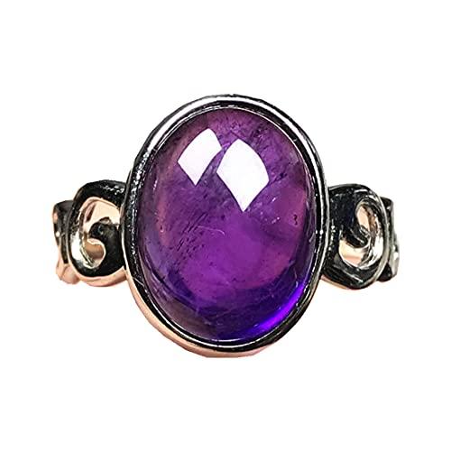 Anillos de amatista púrpura natural para mujer hombre, joyería de amatista, cuentas ovaladas de plata de 15 x 12 mm, anillo ajustable AAAAA