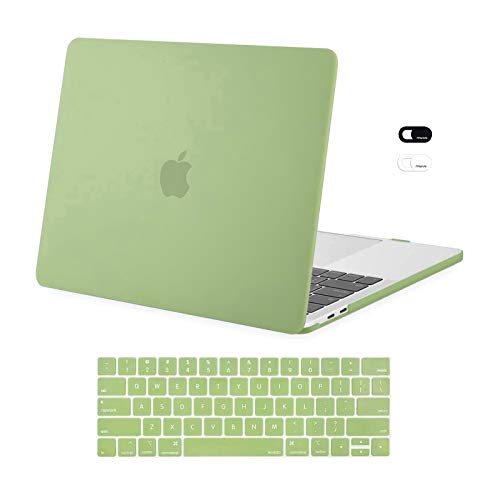 MOSISO Compatible with MacBook Pro 13 inch Case 2016-2020 Release A2338 M1 A2289 A2251 A2159 A1989 A1706 A1708, Plastic Hard Shell Case & Keyboard Cover Skin & Webcam Cover, Avocado Green