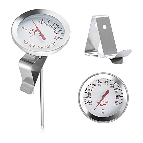 BBQ funland BBQ Thermometer Gauge, 2 Inch dial 5 inch Stem Smoker Pit Thermometers Gauge for Big Green Egg, Grill Dome, Kamado Replacement Temp Gauge Grill Cooking Thermometer Stainless Steel