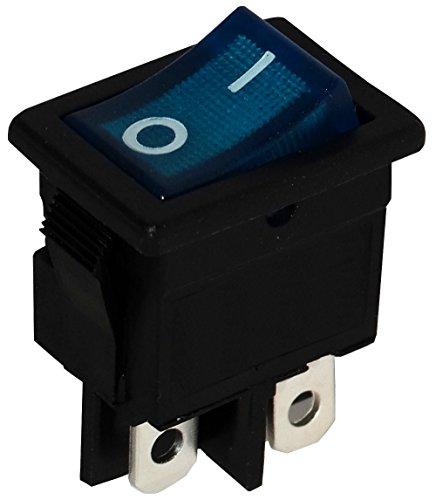Aerzetix: Unterbrecher, Schalter Knopfschalter Switch Kippschalter Druckschalter DPST ON-OFF 6A/250V Blau 2 Positionen