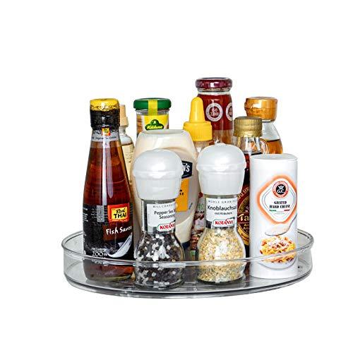 Lazy Susan Drehteller, aus BPA-freiem Kunststoff, Gewürzhalter Organizer für Küchenschrank, Durchsichtig, Φ23.5cm x 3.6cm