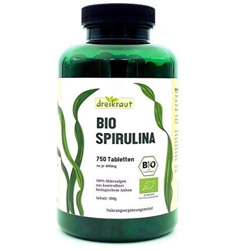 Bio-Spirulina von dreikraut, 750 Presslinge, 4-Monats-Vorrat, aus kontrollierter Aquakultur, rückstandsgeprüft
