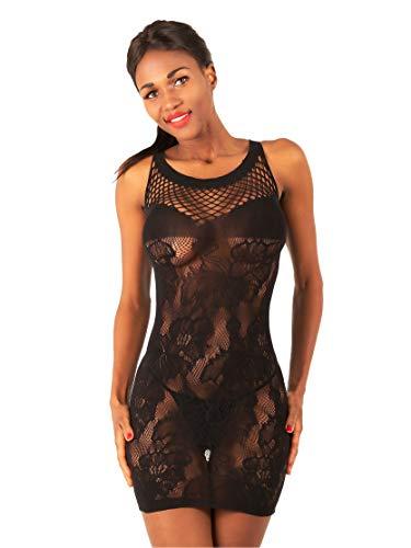 NELZ Damen Sexy Netz Party Minikleid Clubwear Transparent Schwarz