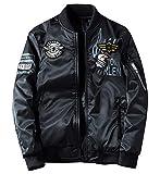 ジャケット 両面着 中綿 ブルゾン リバーシブル MA1 フライトジャケット ミリタリー ジャンパー ワッペン 刺繍 防風 秋冬春 ブラック 3XL