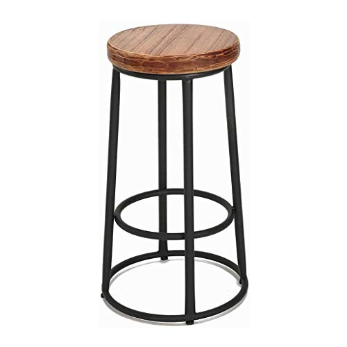 ZXSFD Tabouret de bar Chaise de salle rétro moderne Minimaliste Haute Tabourets Vintage Cuisine rustique Pub tabourets Cadre métal et assise en bois massif style industriel