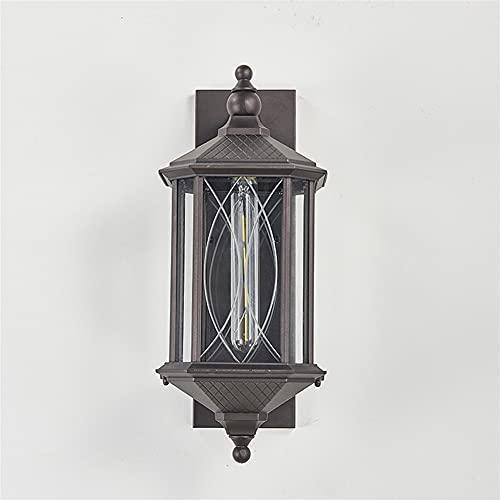 YBright Lámpara de pared al aire libre retro Lintura E27 Industrial Linterna Impermeable Aplique Sconence exterior Acabado Marrón Montaje de pared Soporte exterior Lámparas de casa para Patio Porch Li