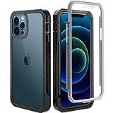 BESINPO Cover per iPhone 12 PRO Max Cover 6.7 inch, 360 Gradi con Protezione Integrata Rugged Antiurto AntiGraffio Protettiva Case Custodia per iPhone 12 PRO Max -Nero/Trasparente