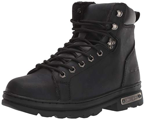 Ad Tec Men's 6in Side Zipper Leather Motorcycle Boots for Men - Lightweight, PU Cushioned Insole, Black 12M US