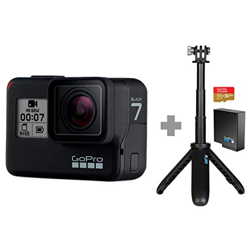 GoPro Hero 7 Black with Shorty, SD Card and Rechargeable Battery