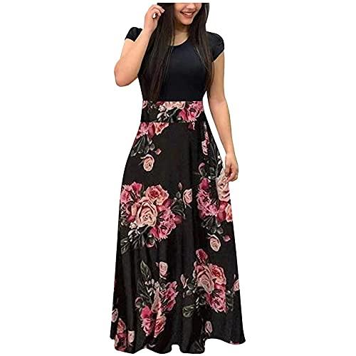 Zzbeans Damen Sommerkleid Lang, Blumendruck Blusenkleid Damen Lang Boho Kleid Damen Lang Sommer Casual Elegant Cocktail Business Abendkleider...