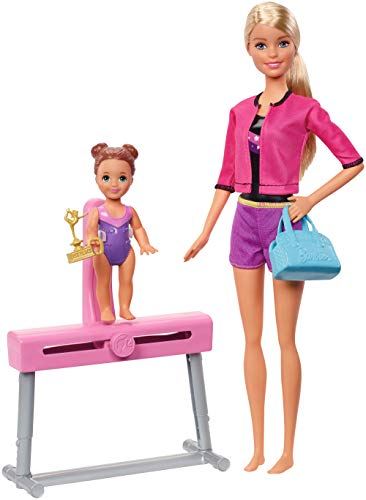 Barbie Gymnastics Coach Dolls & Playset with Blonde Coach Barbie Doll, Brunette Small Doll and Balance Beam with Sliding Mechanism, Gift for 3 to 7 Year Olds [Amazon Exclusive]