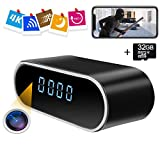Hidden Camera Clock ZXWDDP Spy Wireless Full HD 4K & 1080P Home Security Nanny Camera with Low Light Night Vision-Motion Detection-Free 32G Card-Support iOS/Android-12 Hour System