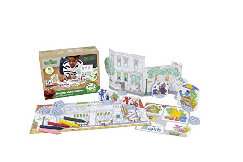 Green Toys SSCPT-1325 Sesame Street Neighborhood Maker Coloring Activity Set, Multi JungleDealsBlog.com