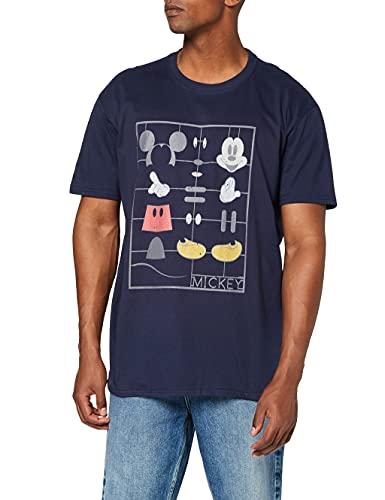 Disney Mickey Mouse Construction Kit T-Shirt, Bleu (Navy), XXL Homme
