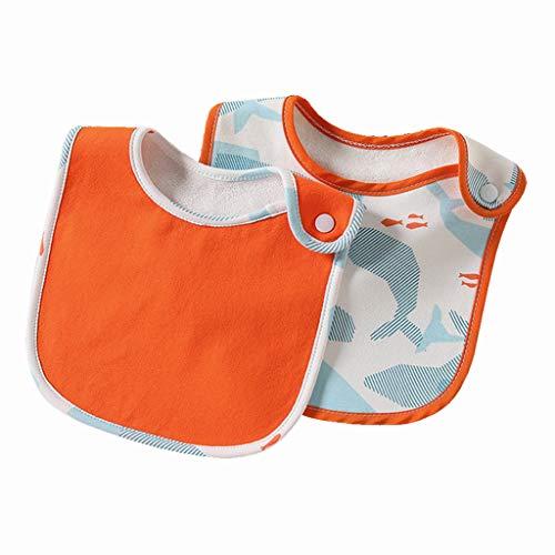 YU-HELLO _2Pcs babero de alimentación impermeable delantal toalla bebé bebé bebé cena bandanas eructos paños