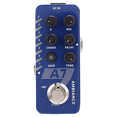 Reverb Guitar Pedal, New Digital Reverb Effect Pedal 7 Ambiance Reverb Pedal Built-in Infinite Lasting Buffer Bypass for A7