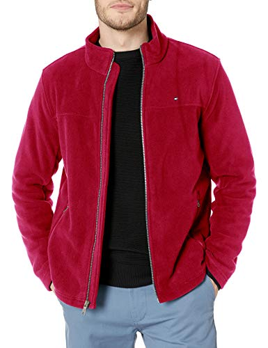 Tommy Hilfiger Men's Classic Zip Front Polar Fleece Jacket, Red, L