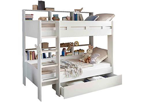 Kinderbett Hochbett Etagenbett | Weiß | 90x200 cm | mit Leiter und Regalen