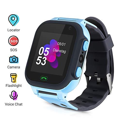Smartwatch para Niños, Reloj Inteligente para Niño Teléfono, SmartWatch Niños LBS, Llamada Bidireccional Smart Watch SOS, Pantalla táctil, Cámara, Juegos, Regalo de cumpleaños para Niños de 3-12 años