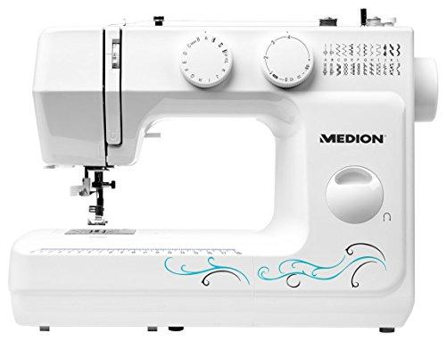 Medion MD 18205 Freiarmnähmaschine (60 versch. Stichmuster, Knopfloch-und Einfädelautomatik, LED-Nählicht, umfangreiches Zubehör) weiß