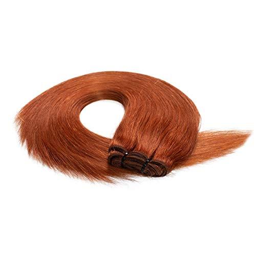 hair2heart Premium 100g REMY Echthaar-Tresse - glatt - 60 cm - #130 kupferrot