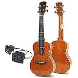 KEPOHK Ukelele 23 pulgadas4 cuerdas concierto sólido completo caoba alto brillo Mini guitarra acústica eléctrica23 pulgadasinstalación-pastilla