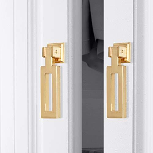 6pcs Gold Color Bronze Alloy Knobs, Kitchen Cupboard Drawer Pulls Kitchen Wardrobe Furniture Handles (6pcs, Narrow Square Shape)