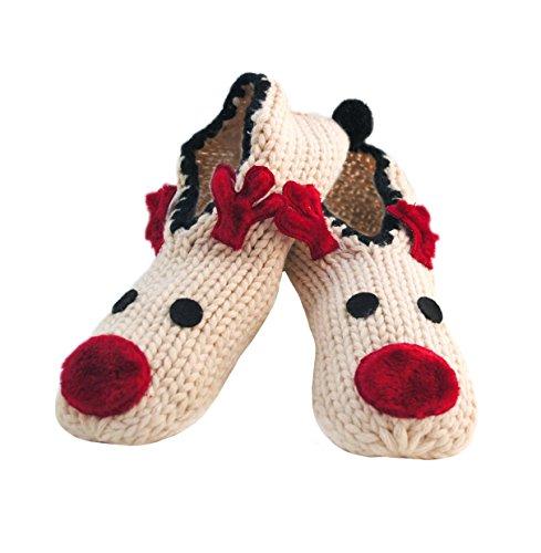 i-Smalls Damen Weihnachts Slipper-Socken mit Festlichem Rentier Design