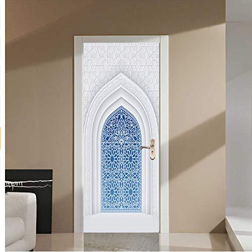 lili-nice Creative 2Pcs / Set Musulman Arabe Style Personnalisé Porte en Bois Autocollant Famille Décoratif Sticker Mural par Affiche Home Decor 77 * 200Cm