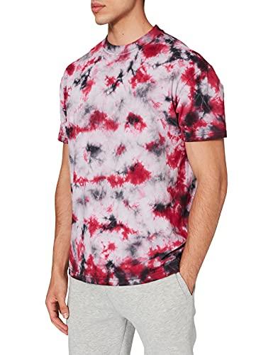 Urban Classics Herren Tie Dye Oversized Tee T-Shirt, Black/red, XL