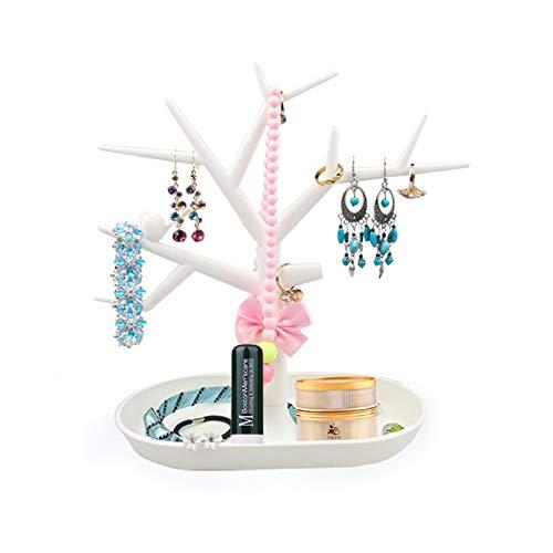 Egbert Baum geformte Schmuck-Display Rack Ohrring Ring Pendant Holder Folding Rack für kosmetische Makeup Organizer - Weiß