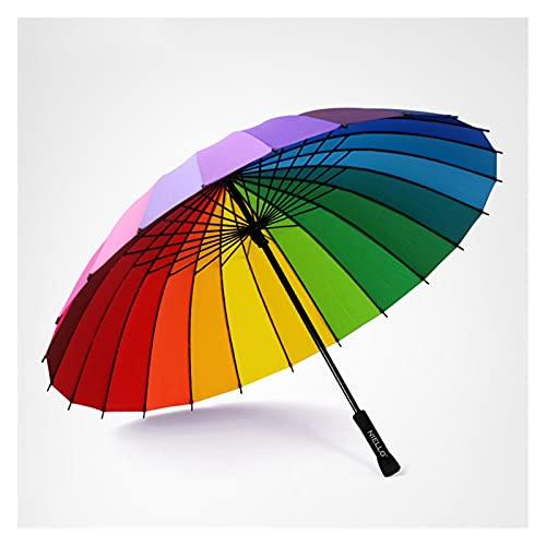 DONGMAISM Ombrello Arcobaleno ombrellone Pioggia Donne Antivento Manico Lungo ombrelloni Telaio Forte Impermeabile Moda colorato (Color : Rainbow)