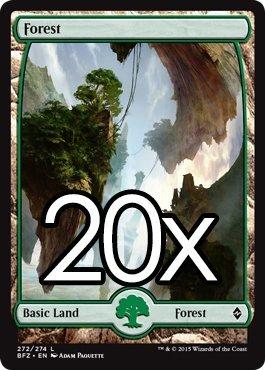 Cool Stuff Inc., LLC 20 Battle for Zendikar Forest #272 Magic The Gathering Basic Full Art Land Lot