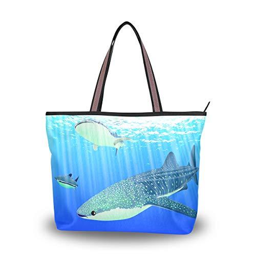 LORONA Frauen Hai Tauchen Seefisch Leinwand Schulter Handtasche Große Kapazität Einkaufstasche