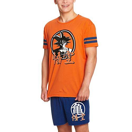 Elbenwald Dragon Ball Z Pyjama Son Goku Frontprint auf Shirt und Kame Symbol auf Hose 2 teilig für Herren orange blau - XL