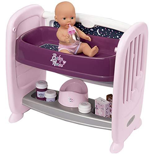 Smoby-Cuna Colecho 2-en-1 Baby Nurse para muñecos bebé 220355, Color Morado
