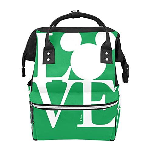 Mochila Bolsa de pañales Mickey Mouse LOVE Green Bolsa de bebé impermeable para mamá y papá Mochila de pañales ligera de gran capacidad