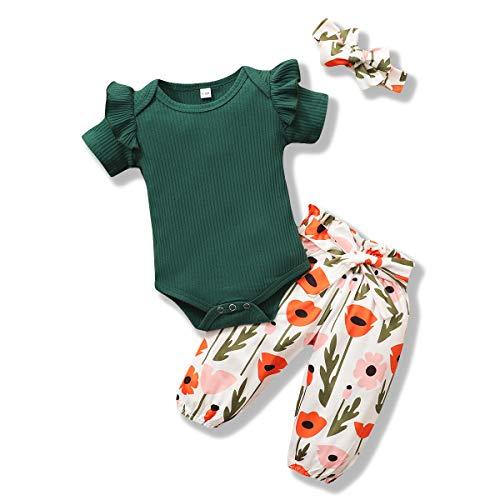 ZOEREA Conjunto de Ropa de Bebé Niña Verano Manga Corta Mameluco con Volantes Mono Body + Pantalones Floral + Venda Recién Nacido Niñas Verano Trajes 3 Piezas