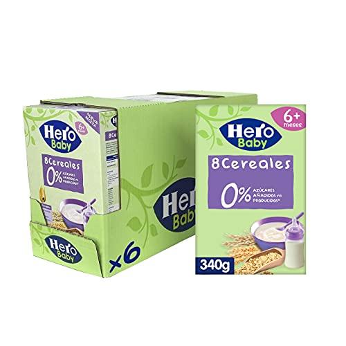 Hero Baby - Papilla de 8 Cereales sin Azúcares Añadidos, para Bebés a Partir de los 6 Meses - Pack de 6