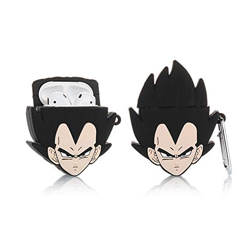 YIGEYI Silicone Case Compatible with Airpods 1&2 Funny Cute 3D Cartoon Cover [3D Dragon Ball Animation Design] (Vegeta)