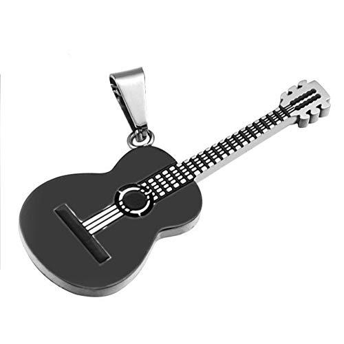 BlackAmazement Anhänger 316L Edelstahl Gitarre Guitar Lederband Halskette Silber Gold schwarz Damen Herren (Farbe Schwarz - mit Kette)