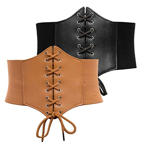 GRACE KARIN Womens Corset Belt Elastic Wide Waist with Ribbon Cincher for Palace Costume(M,Black+Brown 499)