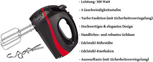 Turbo-Handmixer-300-Watt-5-Stufen-Turbofunktion-Handrhrer-Stabmixer-Hand-Mixer-Handrhrgert-Rhrer-Edelstahl-Knethaken-Edelstahl-Rhrhaken