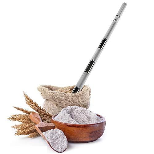 YJINGRUI φ25mm Sonda para Grano Sonda Muestra de Acero Inoxidable Muestreador de Cereales Herrameinta de Muestreo de Tubo Doble para Trigo Fertilizante Químico 0.5m(3ranuras)